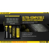Nitecore Sysmax Digicharger D4 EU - Inteligentes Ladegerät für Li-Ion, LiFePo4, Ni-MH, Ni-CD Akkus